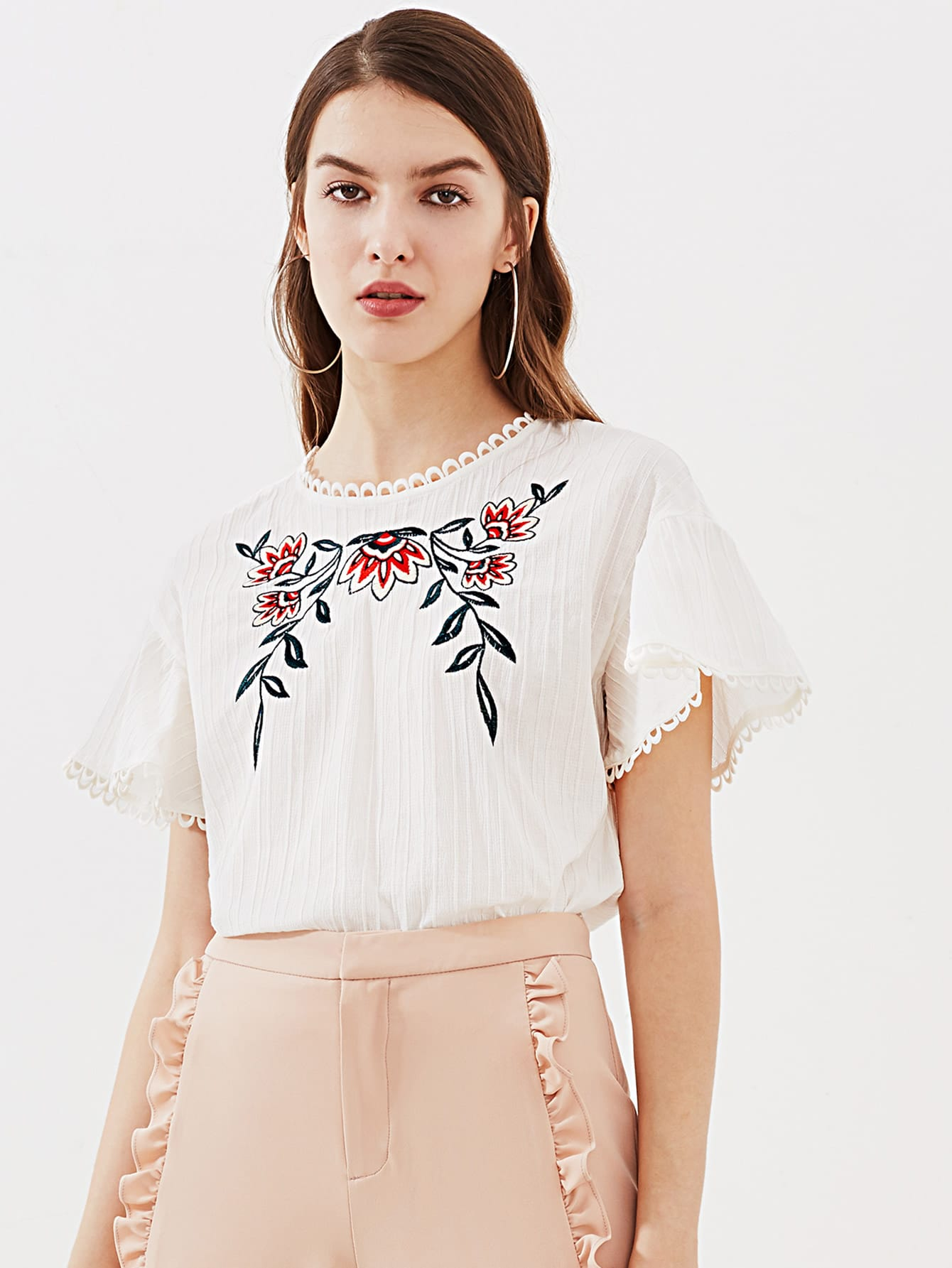 Lace Trim Keyhole Back Flower Embroidered Textured Top