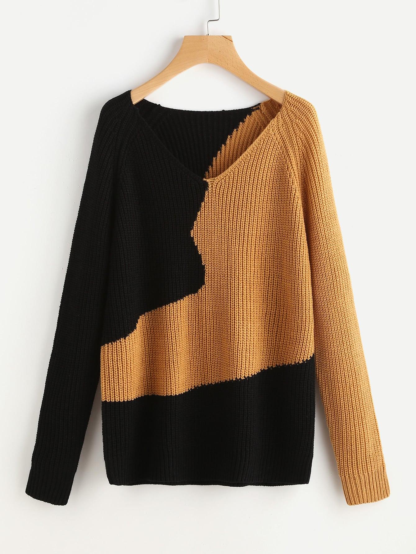 Two Tone Raglan Sleeve Jumper sweater170706464