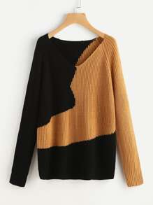 Two Tone Raglan Sleeve Jumper