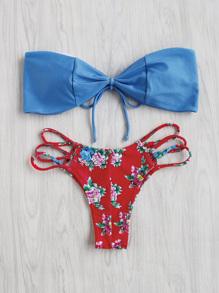 Ensemble de bikini découpé filé imprimé