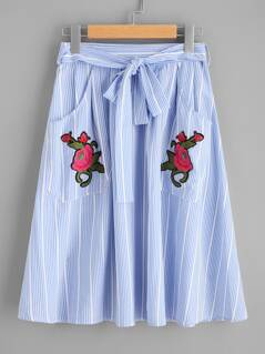 Self Tie Flower Embroidered Patch Pocket Skirt