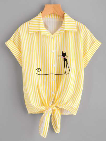 Contrast Striped Cat Embroidery Cuffed Shirt