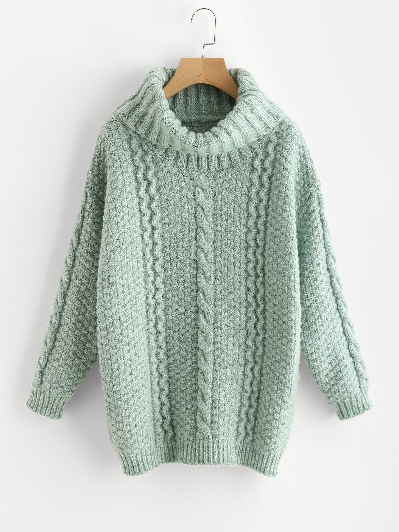 цены Roll Neck Mixed Knit Chunky Jumper