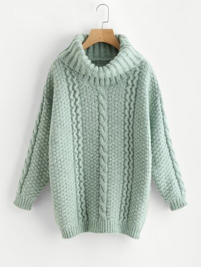 Roll Neck Mixed Knit Chunky Jumper