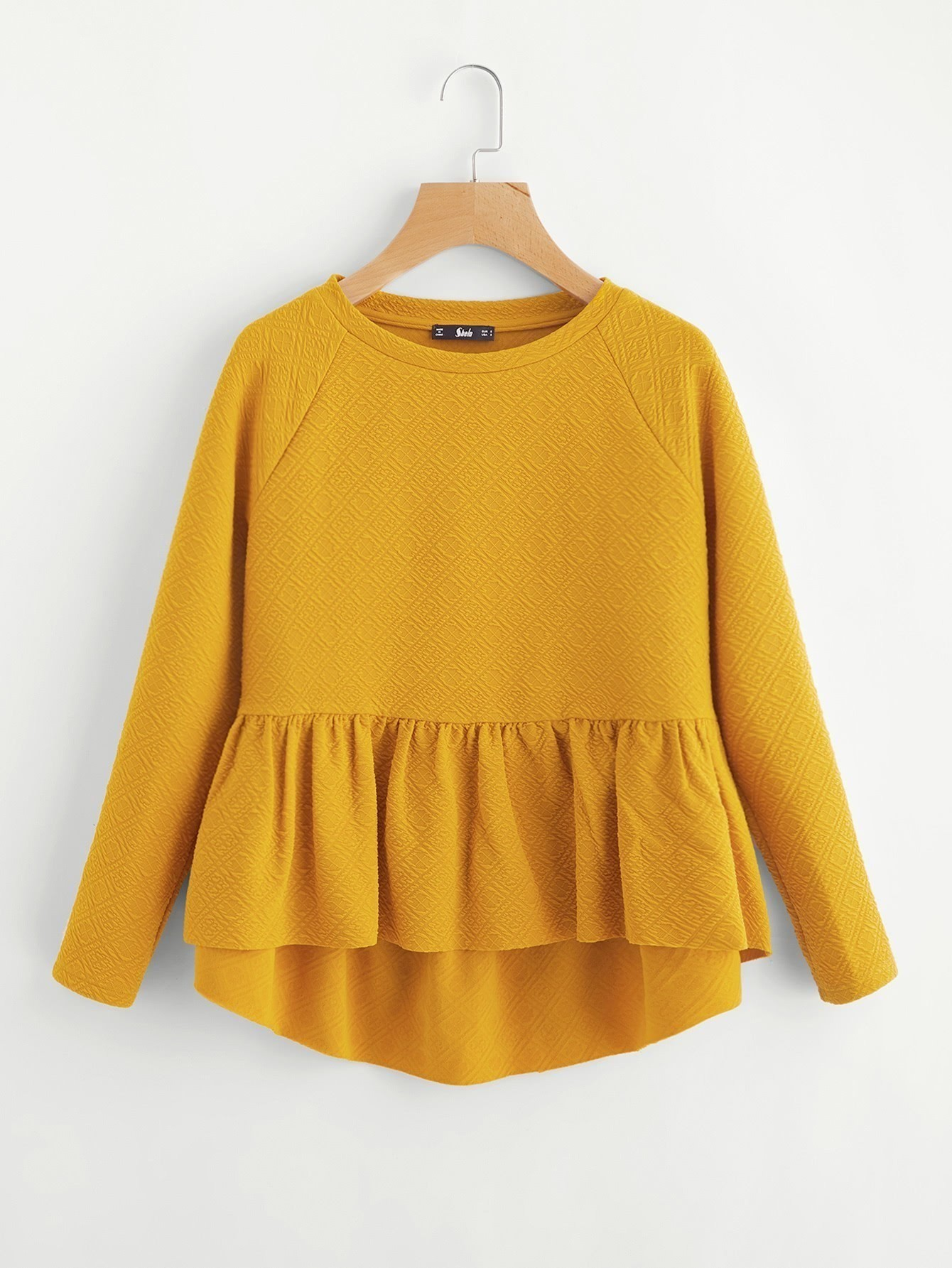 Raglan Sleeve Textured High Low Smock Sweatshirt raglan sleeve smock gingham dress