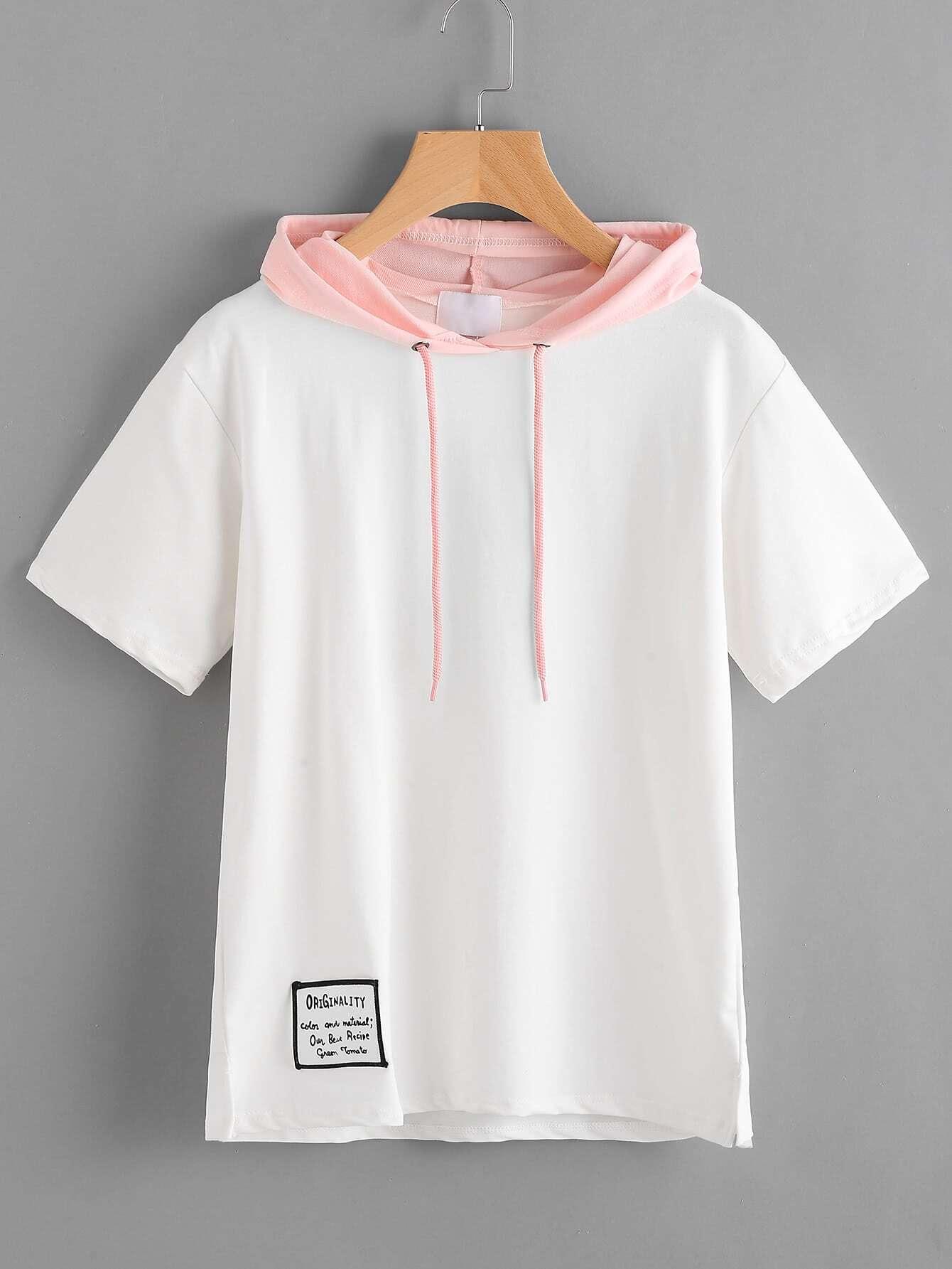 Фото Contrast Hooded Patch Slit Side Tshirt. Купить с доставкой