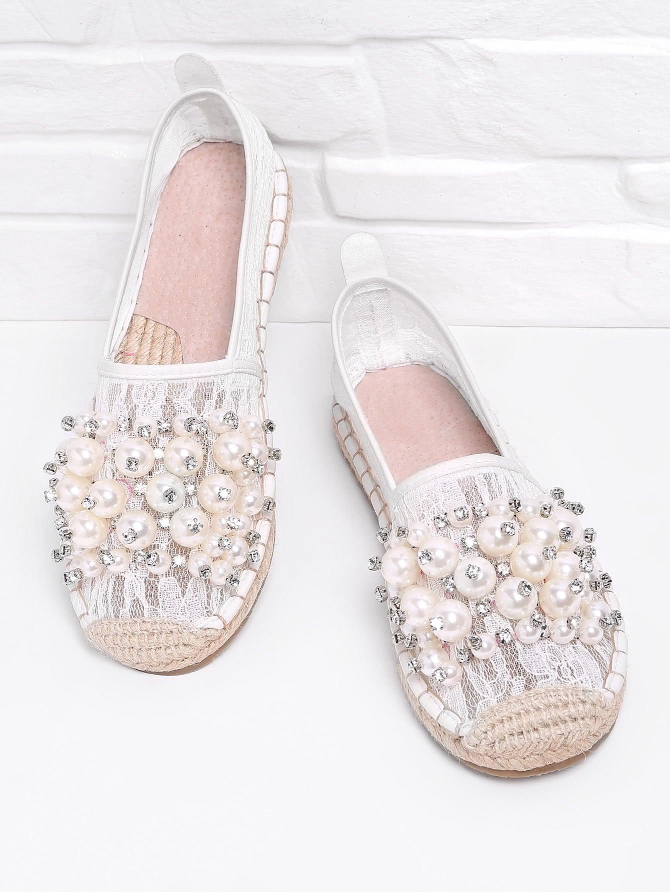 Фото Faux Pearl Embellished Lace Overlay Espadrilles. Купить с доставкой