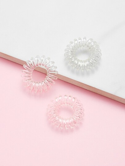 Clear Coil Hair Ties 3pcs