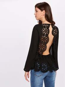Open Back Scallop Laser Cut Top