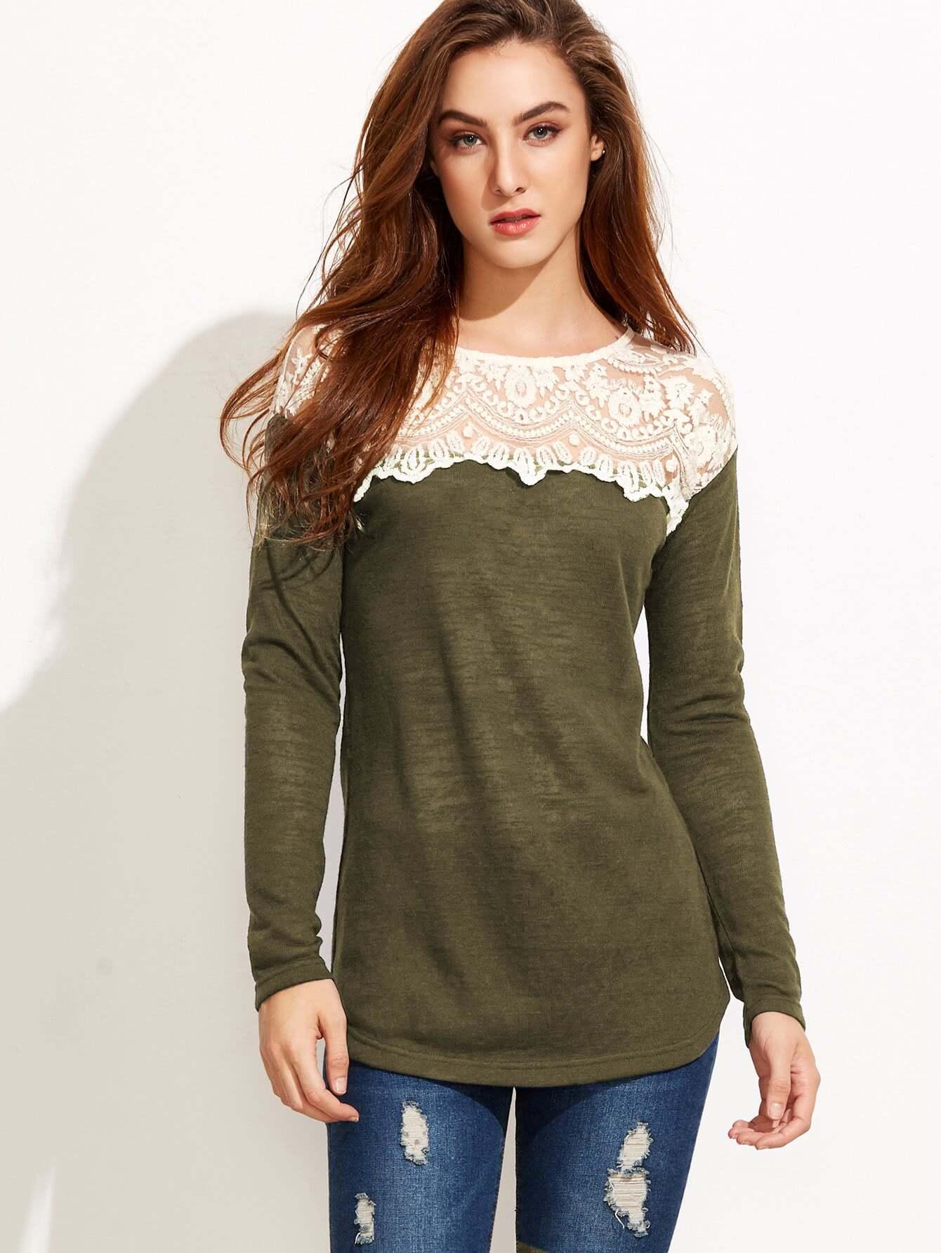 Contrast embroidered mesh yoke t shirt shein sheinside for Embroidered mesh t shirt