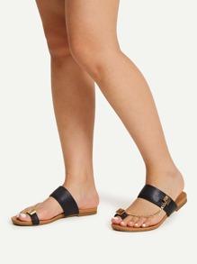 Leopard Toe Ring Flat Sandals
