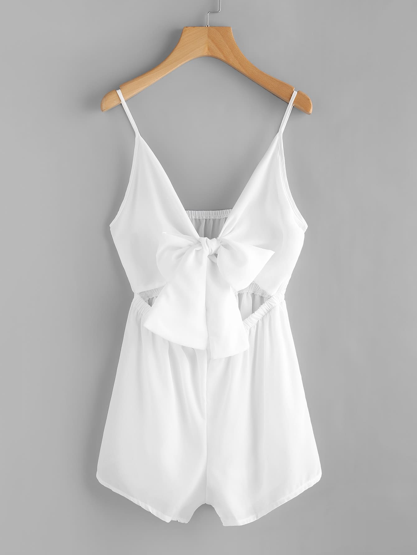 Cut Out Bow Tie Front Cami Romper Emmacloth Women Fast