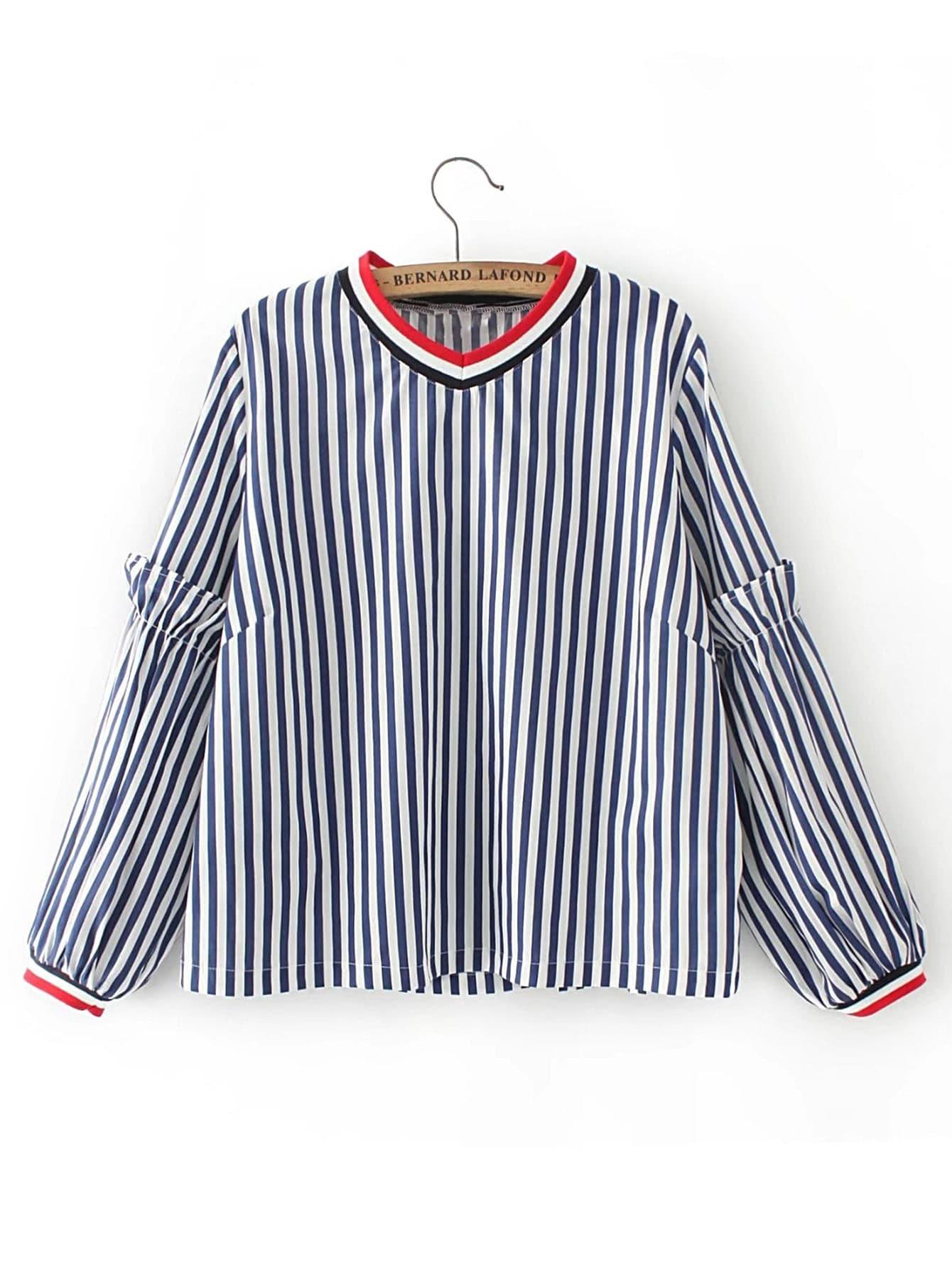 Lantern Sleeve Vertical Striped Top blouse170705201