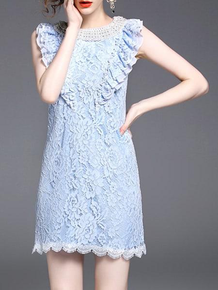 Фото Flounce Sleeve Beading Scallop Lace Dress. Купить с доставкой
