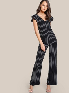 Striped Cap Sleeve Jumpsuit BLACK