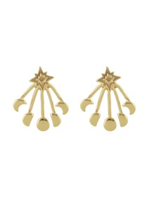 Moon and Round Gold Color Ear Jacket