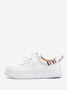 Striped Detail Lace Up Sneakers