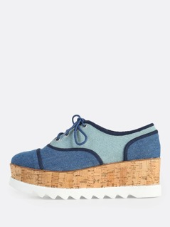 Oxford Style Eyelet Lace Up Flatform Sneakers BLUE DENIM