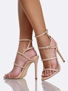 Strappy Ankle Buckle Open Toe Skinny Heels NUDE
