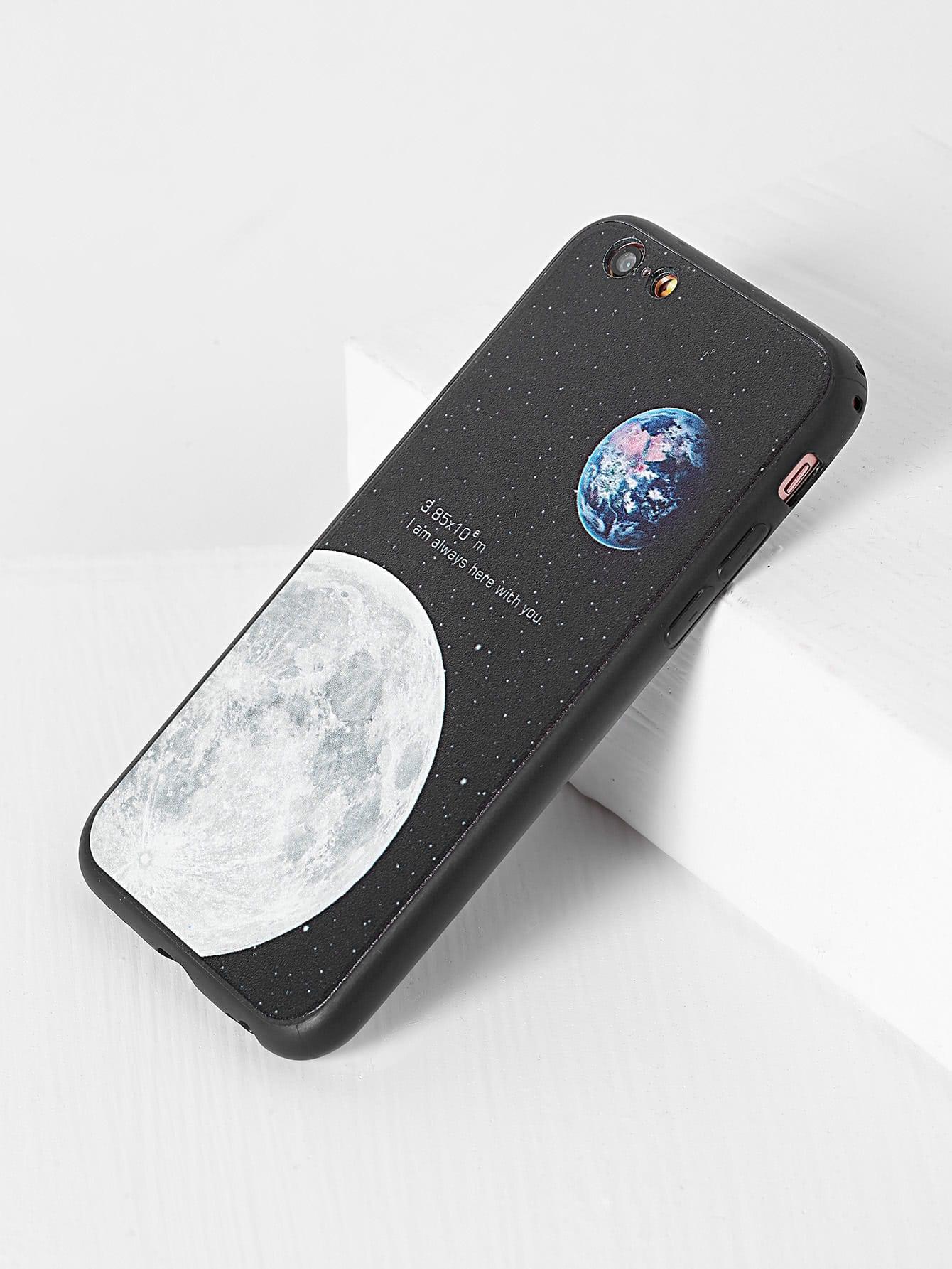 Купить Чёрный модный чехол для iPhone с принтом, null, SheIn
