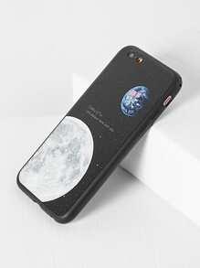 Coque noir imprimé de la lune d\'iphone