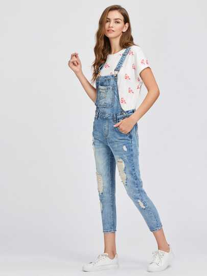 Distressed Bleach Washed Overall Jeans
