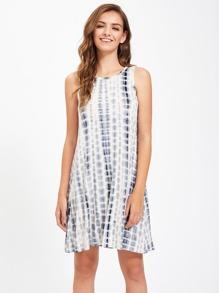 Tie Dye Print Swing Tank Dress
