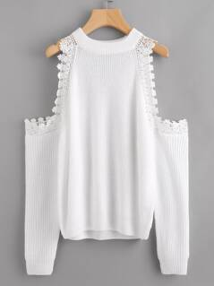 Lace Trim Open Shoulder Jumper