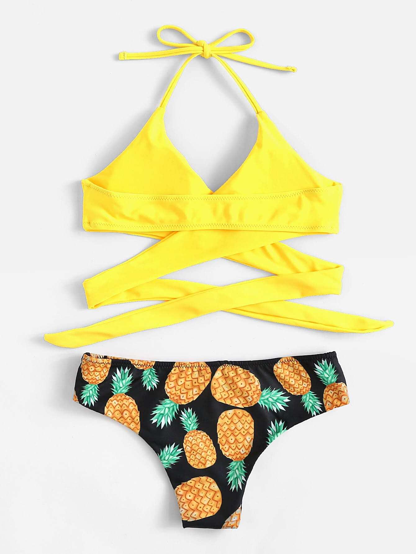 Pineapple Print Wrap Self Tie Bikini Set