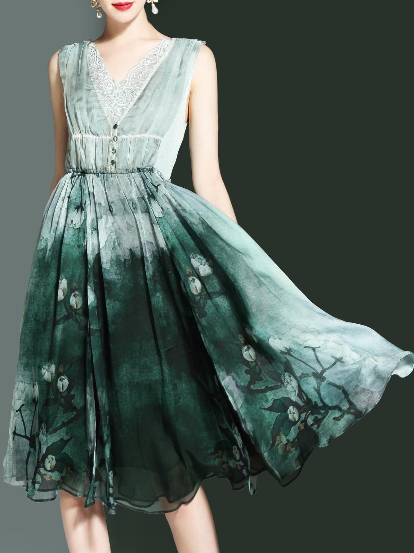 Фото V Neck Contrast Lace Flowers Print Dress. Купить с доставкой