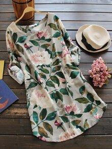 Floral Print Random Rolled Cuff Dress