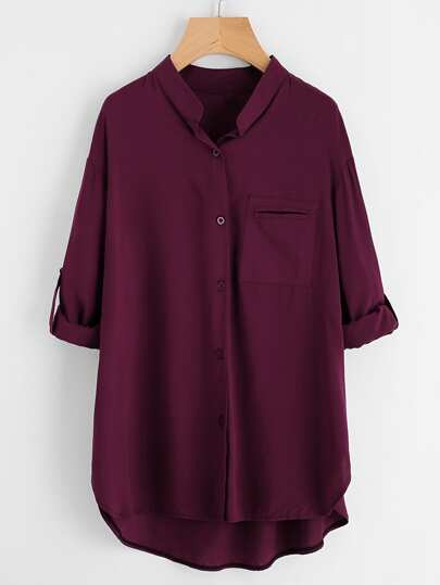 Roll Tab Sleeve High Low Shirt
