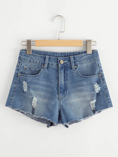 Ripped Raw Edge Denim Shorts