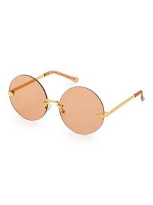 Round Lens Rimless Sunglasses