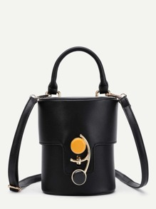 Button Front PU Bucket Bag With Handle