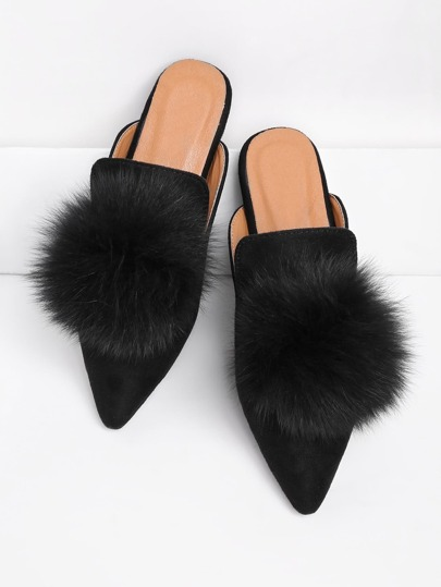 Pom Pom Pointed Toe Flat Mules