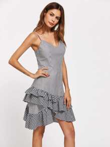 Layered Gingham Frill Hem Cami Dress