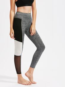 Mesh Insert Color Block Marled Knit Leggings