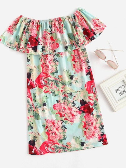 Allover Floral Print Layered Dress