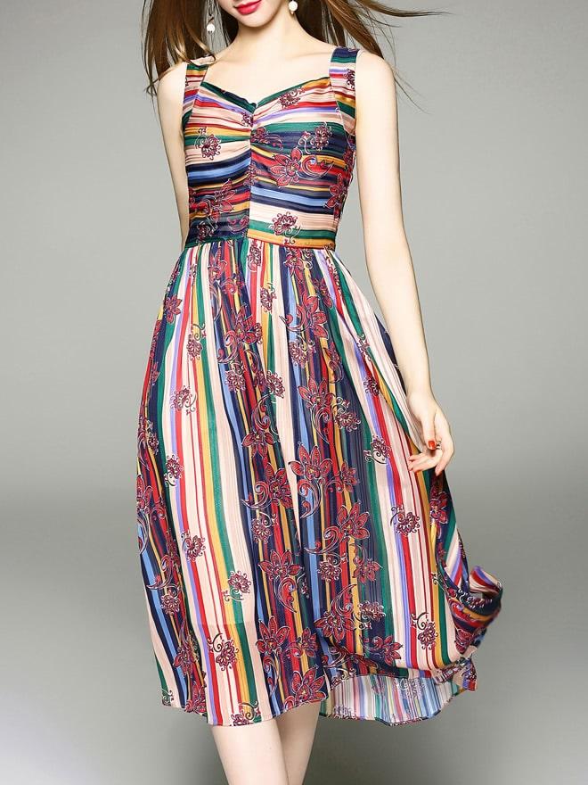 Фото V Neck Color Block Print Dress. Купить с доставкой