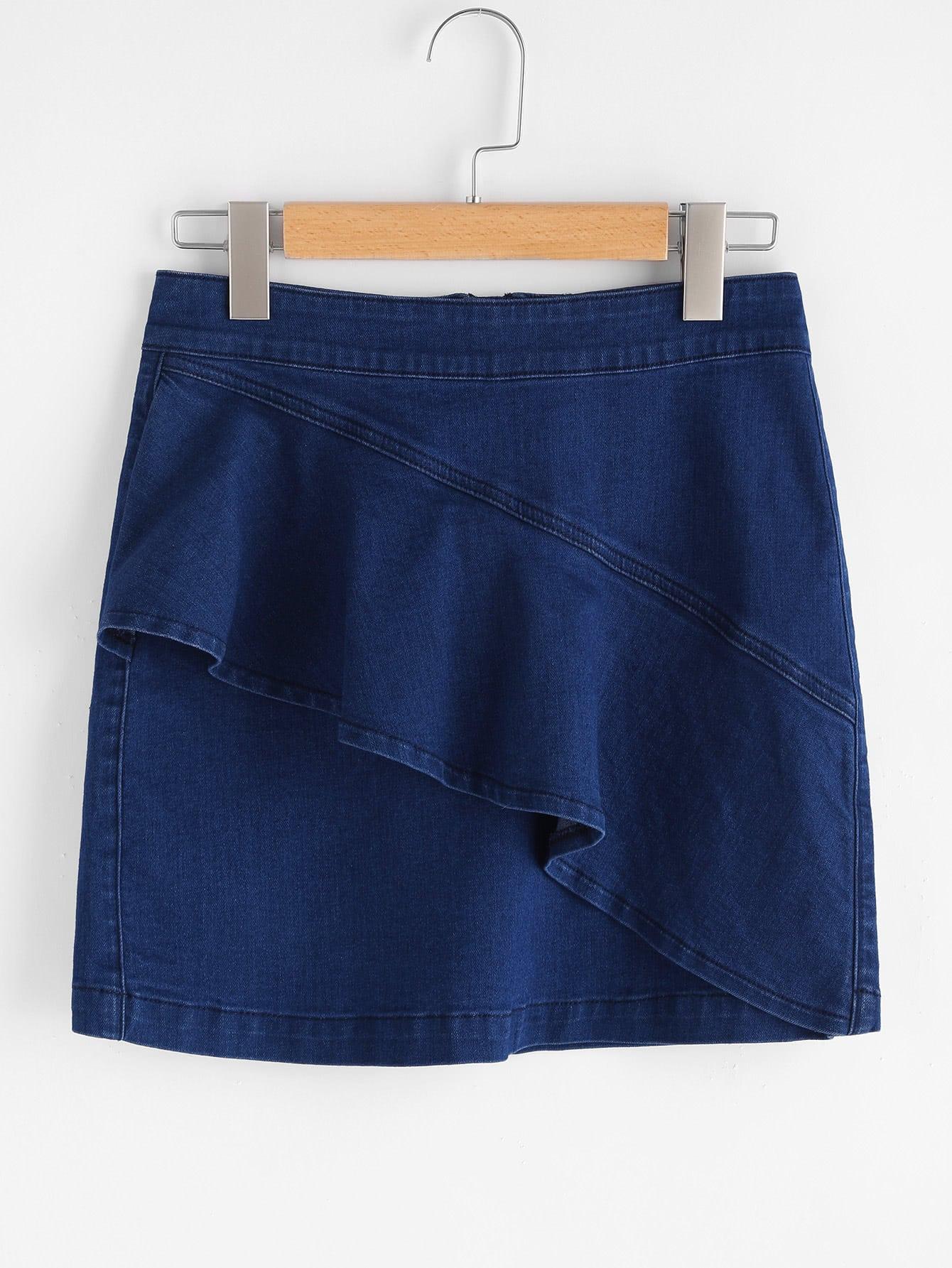 Фото Asymmetric Flounce Trim Denim Skirt. Купить с доставкой