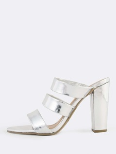 Metallic Three Band Slip On Heels SILVER