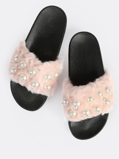 Faux Fur Pearl Embellished Slides PINK