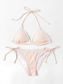 Set di bikini con bordo in pizzo