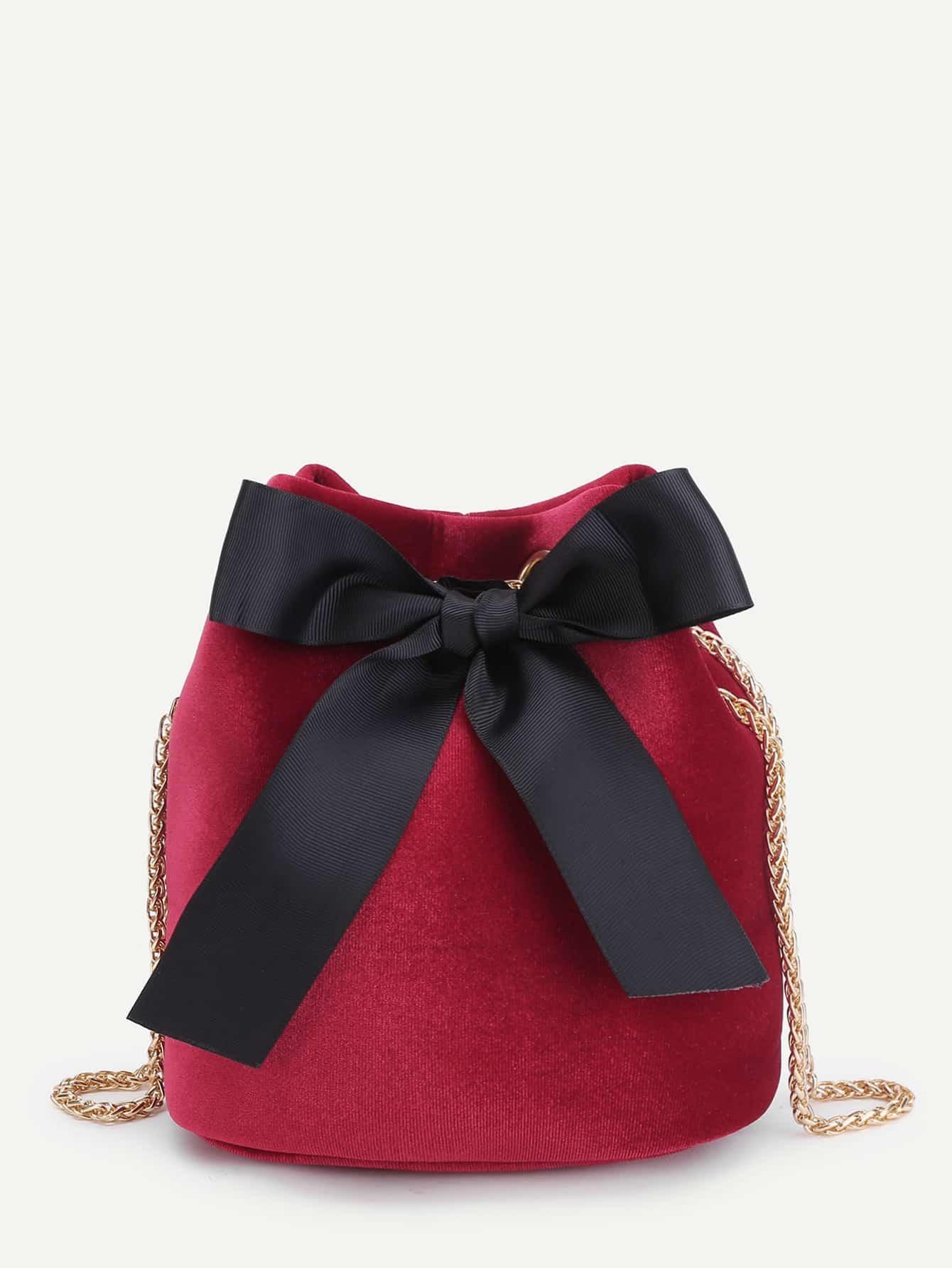 Bow Tie Front Velvet Bucket Chain Bag bow tie front drop shoulder sweatshirt