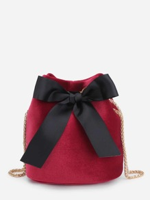 Bow Tie Front Velvet Bucket Chain Bag