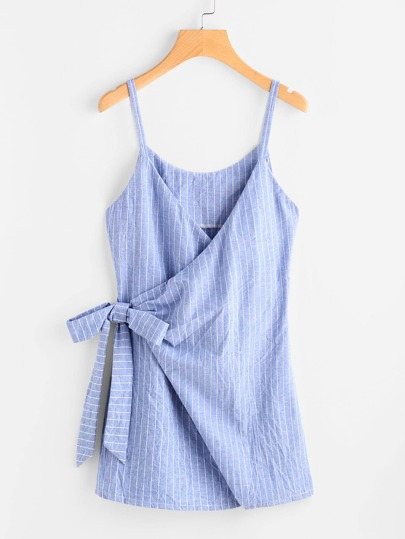 Pinstriped Overlap Tie Detail Cami Dress