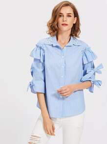 Pearl Beaded Collar Tied Split Sleeve Pinstripe Blouse pictures