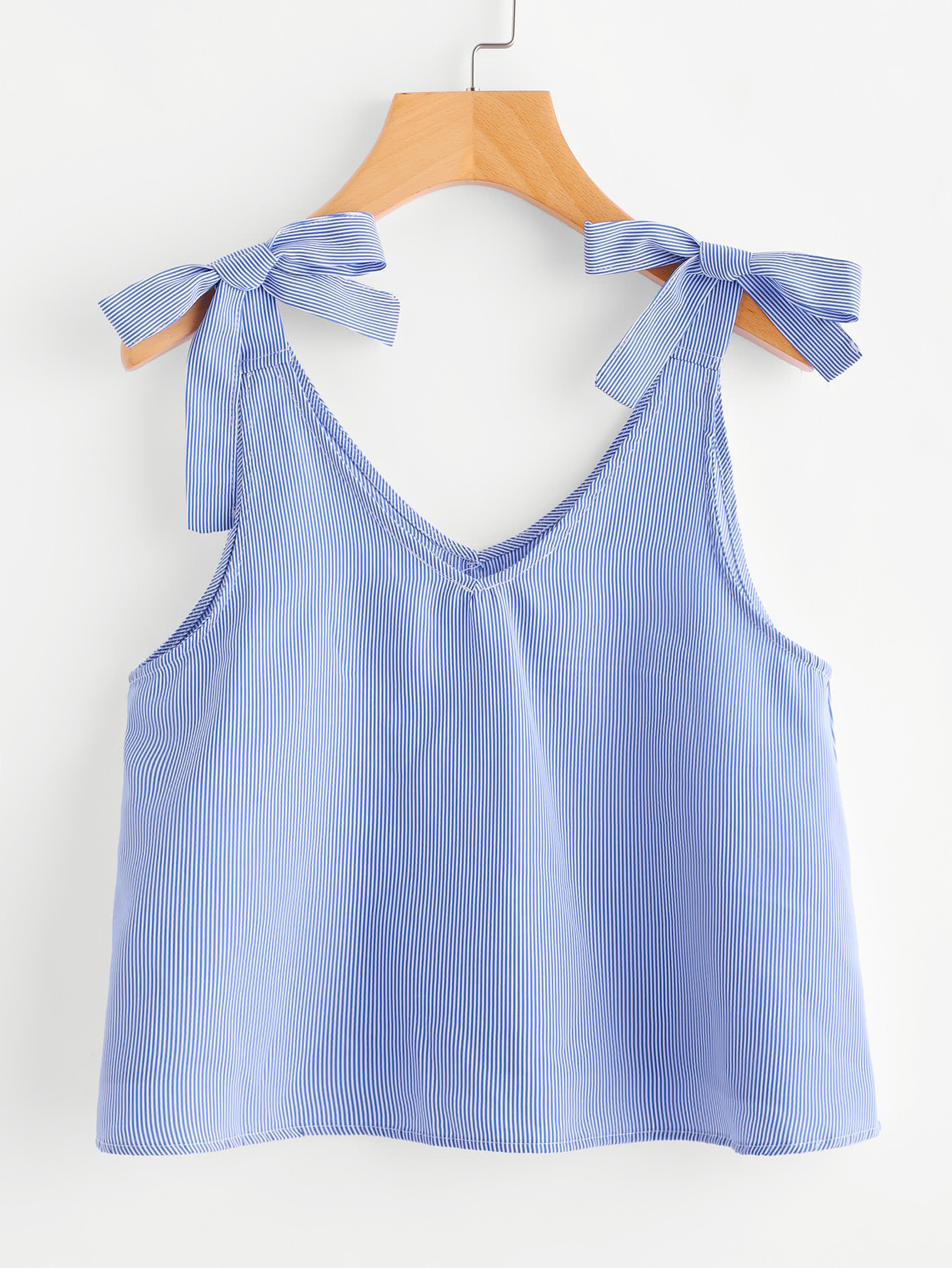 Vertical Pinstriped Bow Detail Tank Top