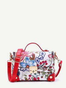 Flower Embroidery PU Cross Body Bag